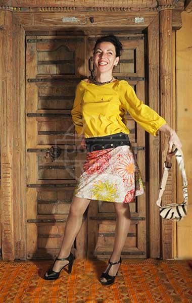 grossiste jupe réversible blanche fleurie psychédélique Pacap
