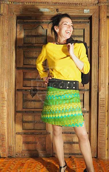 Jupe taille unique coton grossiste vêtement ethnique réversible rétro, ethnique motifs jaune, vert, bleu Pacap