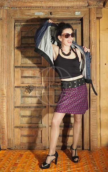 fournisseur Jupe coton ethnique réversible motifs violet marque Pacap