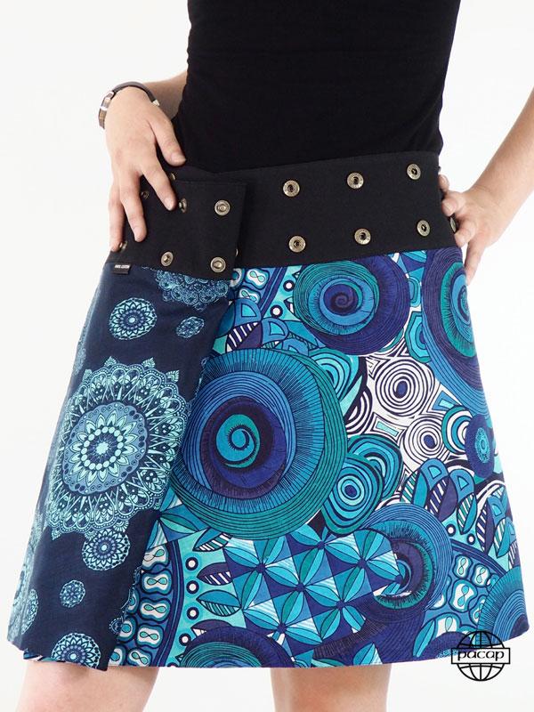 grossiste france Jupe Coton Portefeuille Ethnique Mandala Tendance Bleu - Bali .jpeg