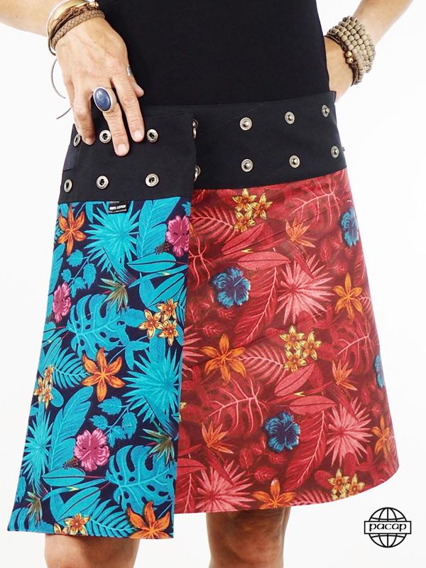 grossiste marque pacap Jupe Coton Réversible À Fleurs Multicolores Troix Tailles - Erika.jpeg