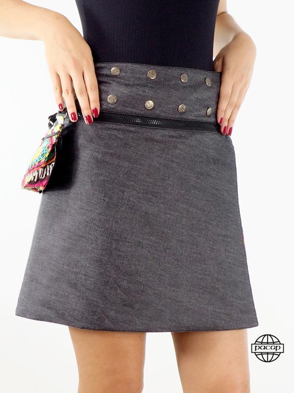 Jupe Jeans Noir Genoux Coupe Portefeuille à Zip Motif Ethnique Wax –- KATOM (4)