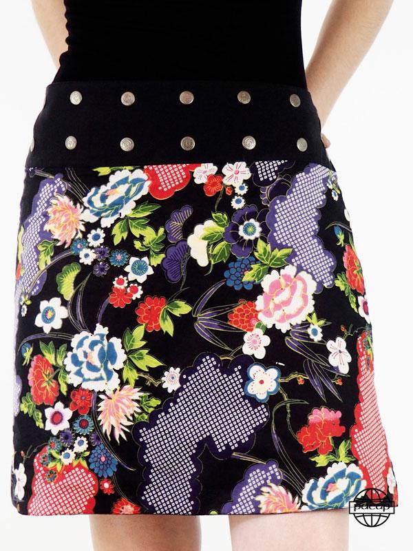 Jupe Multi-Tailles Coton Réversible Motif Japonisant Fleural Côté Uni Rouge- Verena (1)