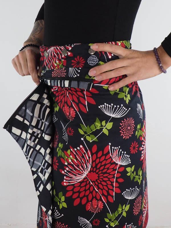 grossiste jupe reversible portefeuille midi coton la jupe avec zip et poche amovible 8 façons de la porter