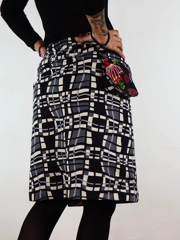 grossiste jupe reversible portefeuille midi coton la jupe avec zip et poche amovible 8 façons de la porter taille haute taille basse jupe trapeze grossiste vetement ethnique femme forte ronde