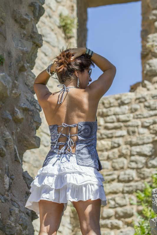 chemisier top haut bustier femme jupe reglable ethnique